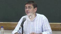 Juan Carlos Monedero, en el turno de preguntas de su sesión en la Universidad Podemos.