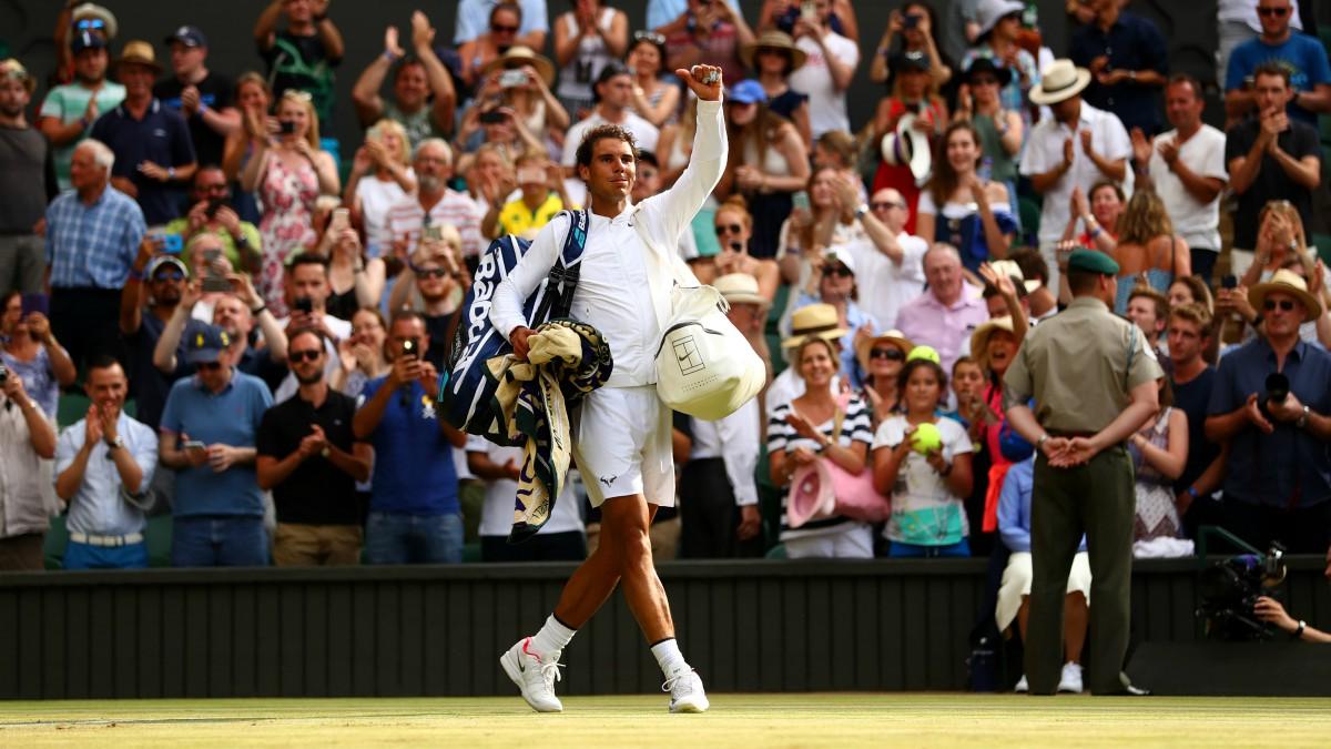 Rafael Nadal, tras una victoria en Wimbledon. (Getty)