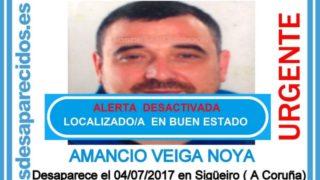 Amancio Veiga Noya, localizado en buen estado tras desaparecer en Sigüeiro (La Coruña).