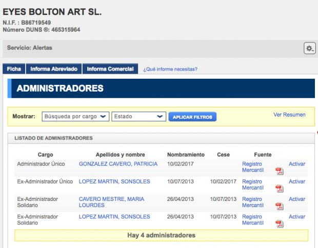 Administradores de Eyes Bolton Art (Registro Mercantil).