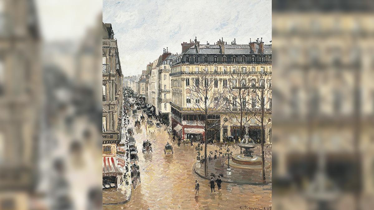 El cuadro 'Rue st. Honoré, aprés-midi, effet de la pluie', de Camille Pissarro. (Thyssen)