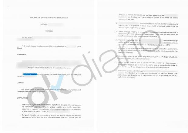 """Modelo de contrato de """"asesoramiento ficticio"""" de Ignacio González."""