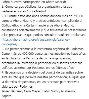 Comunicado ediles Ahora Madrid