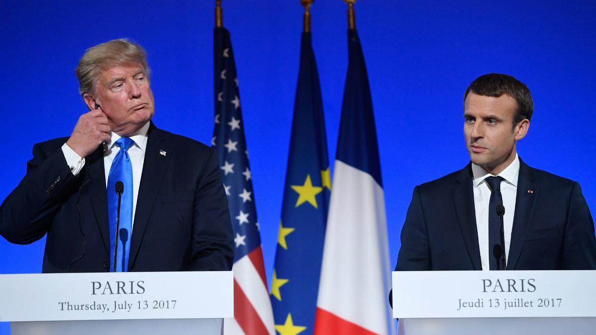 Donald Trump y Emmanuel Macron en una rueda de prensa conjunta. (AFP)