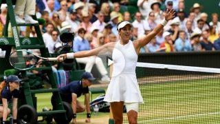 Garbiñe Muguruza celebra su pase a la final de Wimbledon. (Getty)