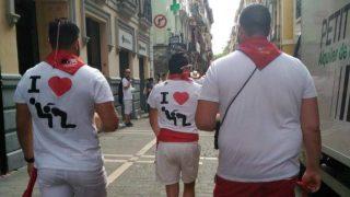 Camisetas vejatorias contra la mujer en los sanfermines.