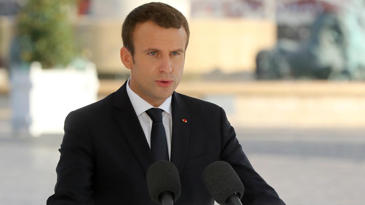 Emmanuel Macron, recordando el primer aniversario del atentado yihadista en Niza. (AFP)