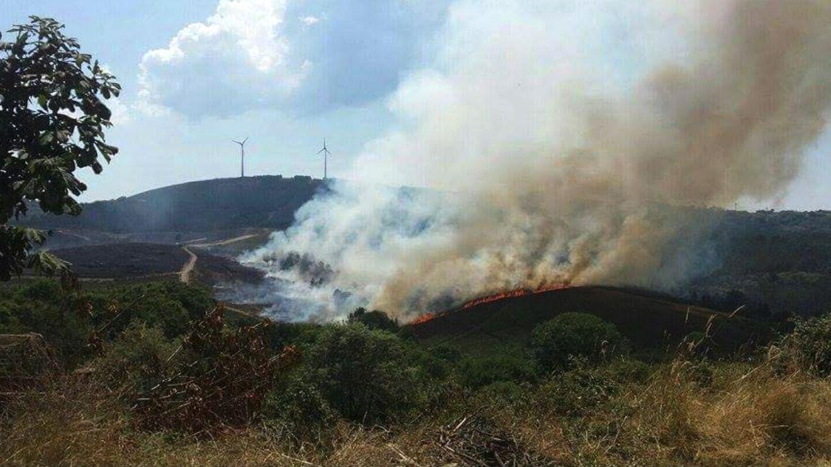 Incendio de monte bajo en Lalín (Pontevedra).