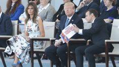 Emmanuel Macron junto a Donald y Melania Trump en París en el Día de la Bastilla. (Foto: AFP)