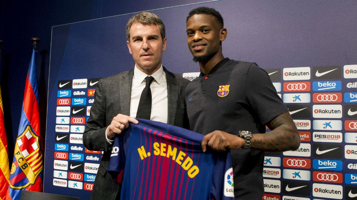 Nelson Semedo, en su presentación con el Barcelona. (EFE)