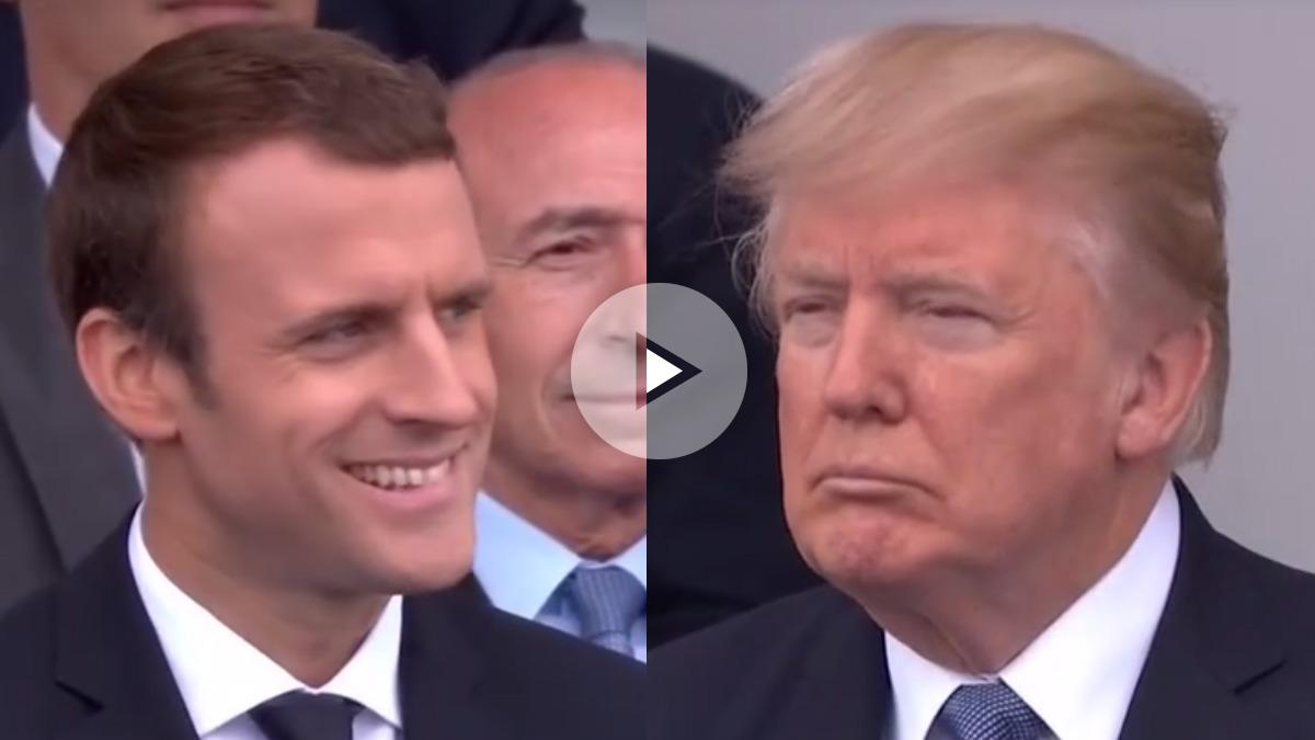 Macron contiene la risa ante un Trump atónito cuando la banda del ejército francés interpreta a Daft Punk.