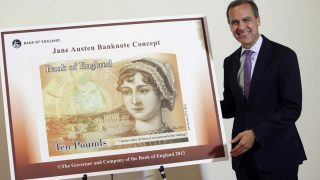 Billete en honor a la escritora Jane Austen, presentado en 2013. AFP