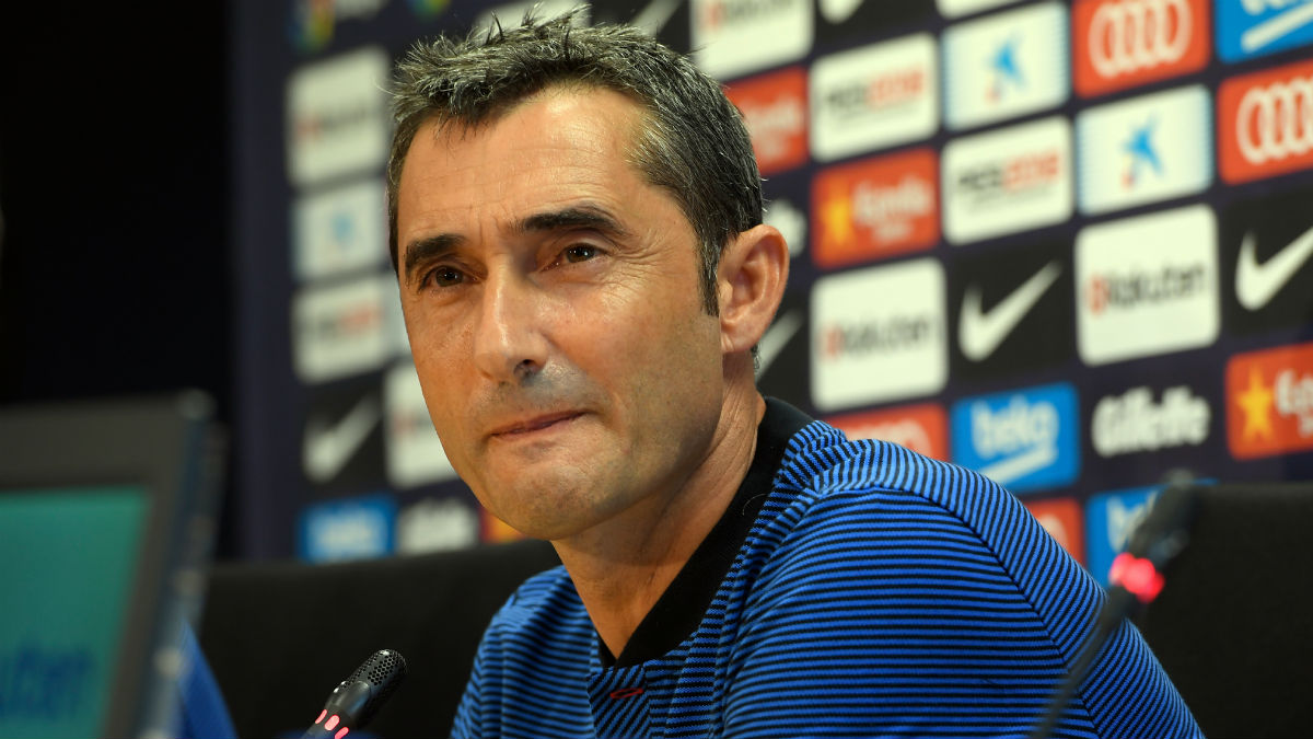 Ernesto Valverde, en rueda de prensa. (AFP)