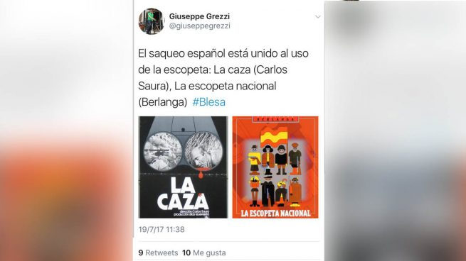 "Un concejal de Compromís se mofa de la muerte de Blesa: ""El saqueo español está unido al uso de la escopeta"""
