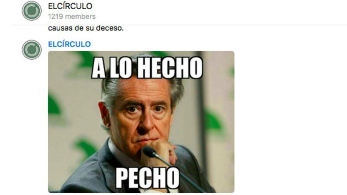 El canal de Podemos en Telegrama, 'el círculo'¡, se ríe de la muerte de Miguel Blesa.