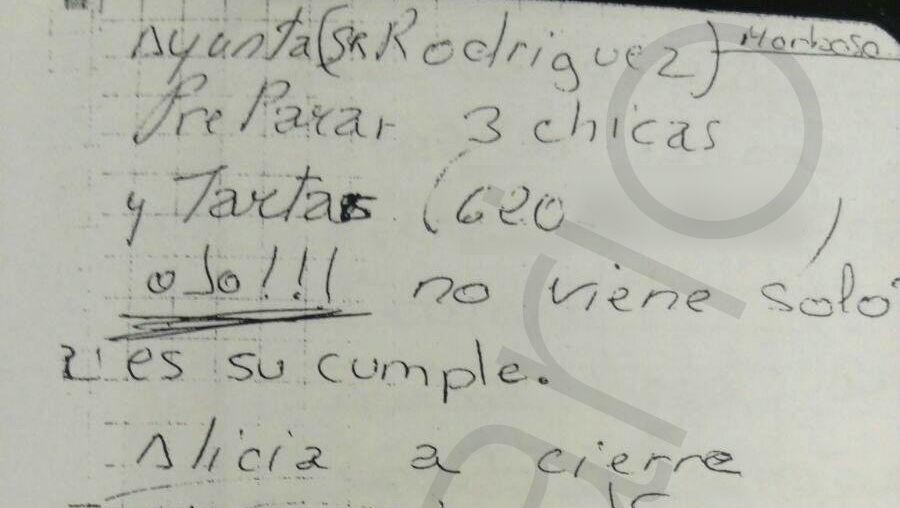 Anotación sobre la fiesta de cumpleaños del ex senador José María Rodríguez, en el cuaderno del club de alterne.