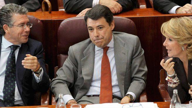 Francisco Granados, Ignacio González y Esperanza Aguirre en la Asamblea de Madrid.