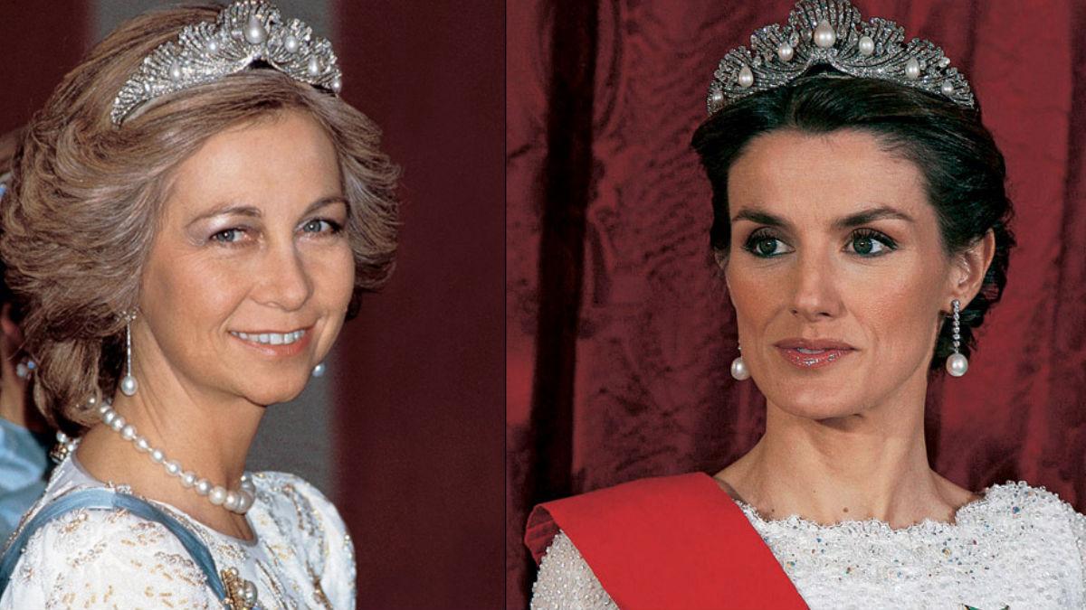 La Reina emérita Sofia y la Reina Letizia con la misma tiara.