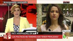 Cristina Pardo ('Al rojo vivo') entrevista a Inés Arrimadas.