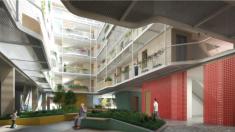 Patio interior ajardinado del arte-facto que el Ayuntamiento quiere construir en el barrio de Rejas (San Blas-Canillejas).