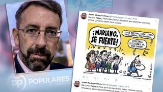 El presidente del Comité de Derechos y Garantías del PP de Cantabria, Javier Noriega, junto a algunos de sus tuits.