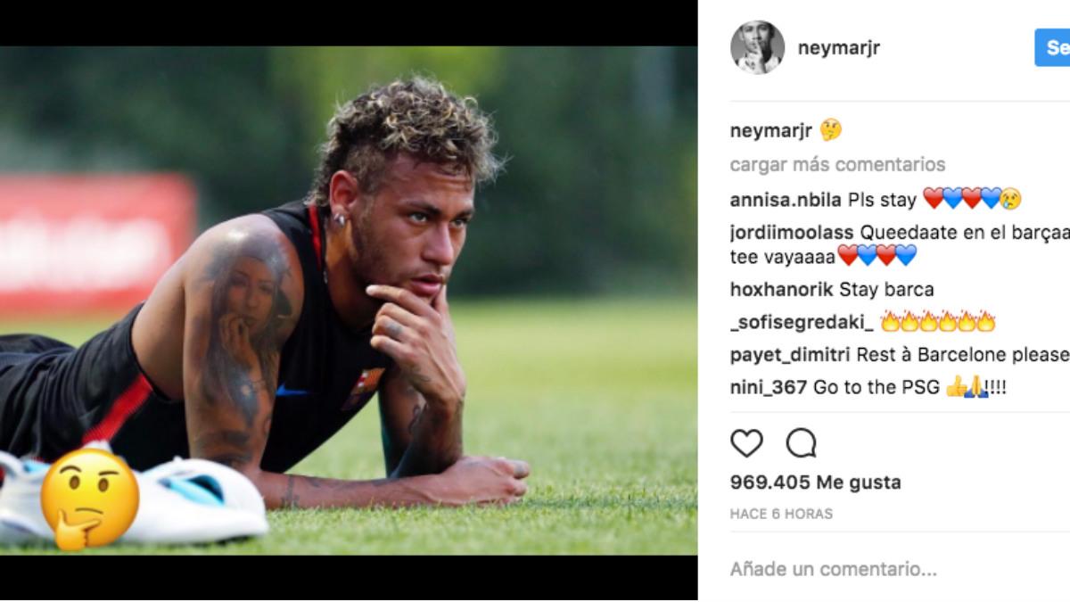 Neymar publicó esta imagen en Instagram.