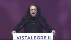 Fernando Barredo durante su intervención en la asamblea ciudadana de Vistalegre II.