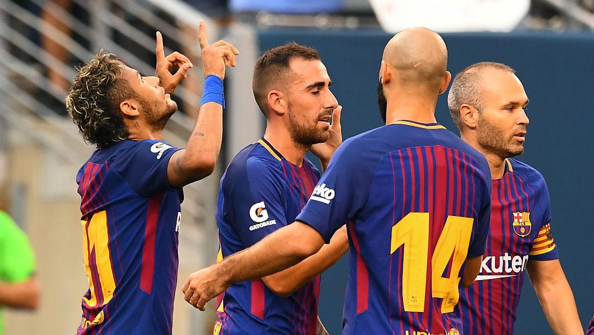 Neymar celebra el primer gol contra la Juventus. (AFP)