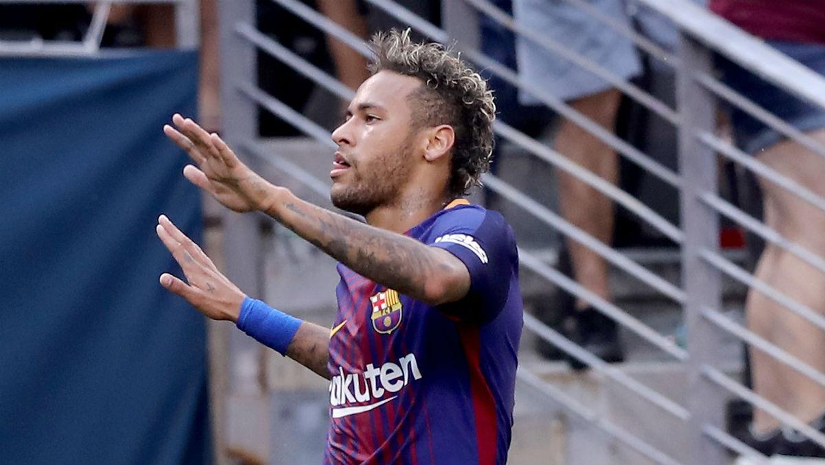 Neymar celebra uno de sus goles ante la Juventus. (AFP)