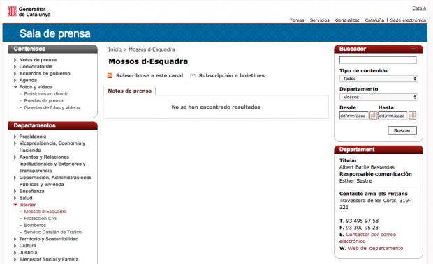 La mano independentista ya se nota en los Mossos: eliminan el español de su web