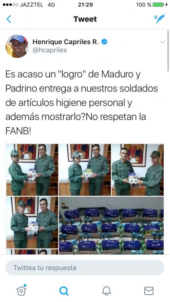 Captura de las redes sociales de Capriles