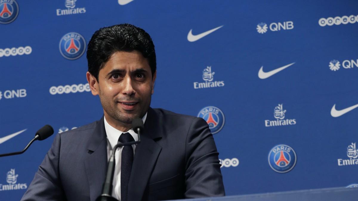 Nasser Al-Khelaifi, en una comparecencia de prensa. (AFP)