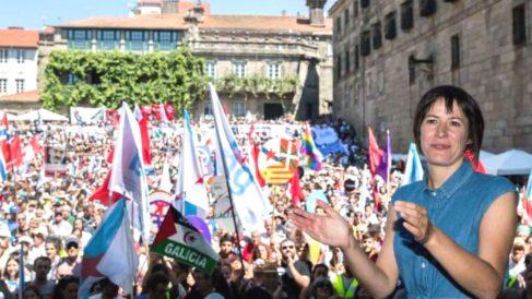 La portavoz del BNG, Ana Pontón, en la manifestación independentista en Santiago de Compostela (Foto: Twitter)
