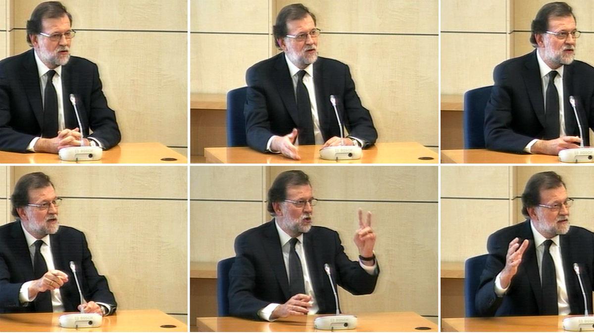Varios gestos de Mariano Rajoy durante su declaración como testigo (Foto: EFE).