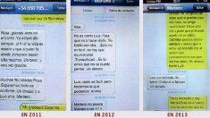 Los mensajes SMS enviados por Rajoy a Luis Bárcenas y Rosalía Iglesias.