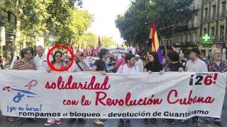 Sol Sánchez, en la cabecara de la manifestación
