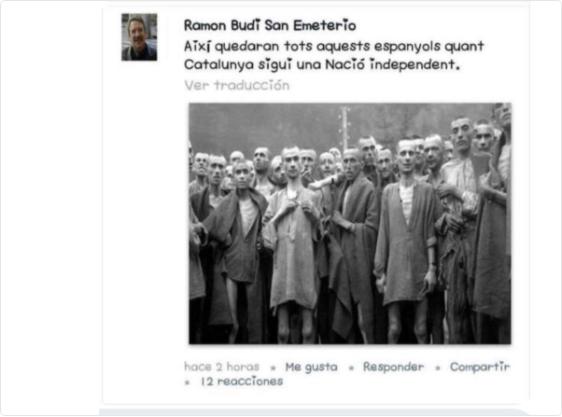 Un ex concejal del PDeCAT quiere convertir a los españoles en judíos de un campo de concentración