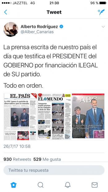 Captura del perfil del podemita Alberto Rodríguez