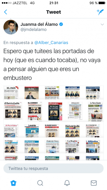 Respuesta del periodista Juanma del Álamo