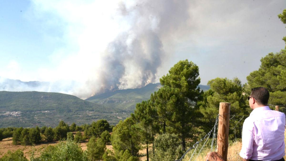 Imagen del incendio de Yuste (Foto: InfoEmergencias)