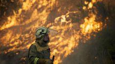 Un brigadista trabaja en el incendio junto al pueblo orensano de Monterrei, en la parroquia de Infesta. (Foto: EFE)