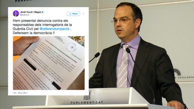 Jordi Turull ha colgado una foto de su denuncia a la Guardia Civil en su cuenta de twitter.