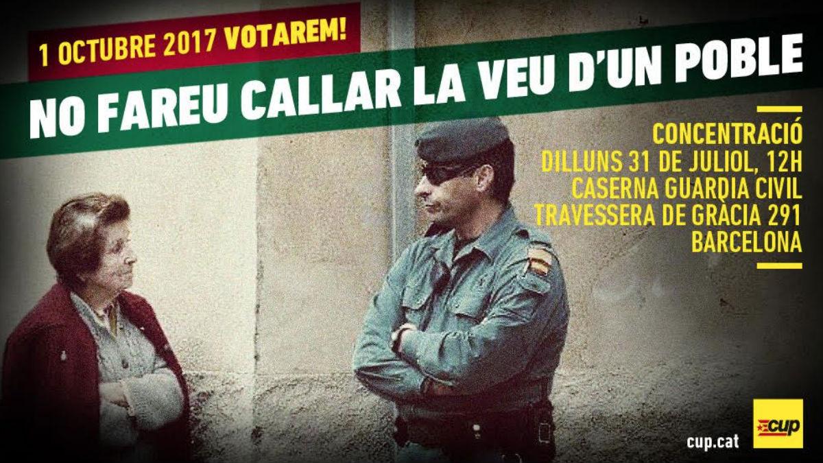 Cartel anunciando el escrache convocado por la CUP a la Guardia Civil. Foto: @cupnacional