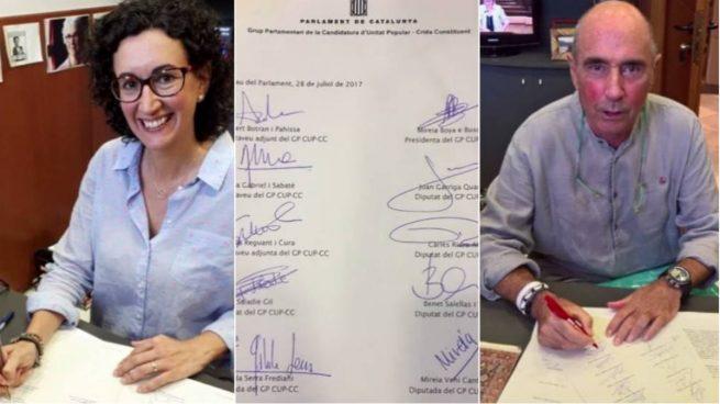 JxSí y la CUP registran en el Parlament la ley del referéndum del 1 de octubre. Foto: TV3