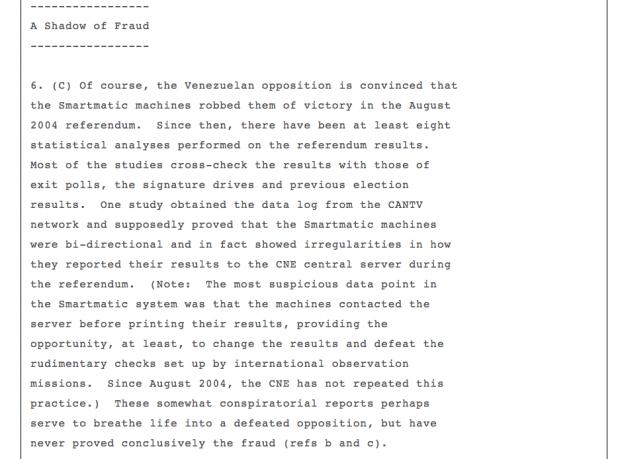 Un cable de EEUU advirtió de fraude electoral desde que Chávez encargó el recuento a Smartmatic en 2004