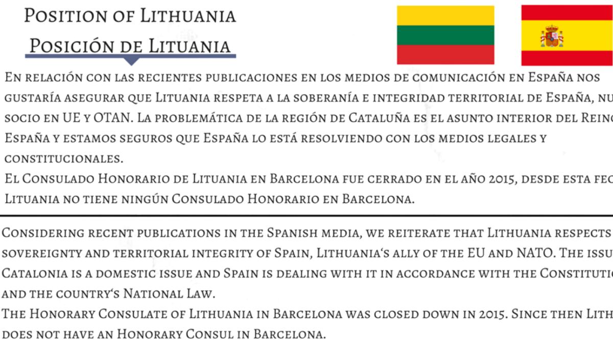 Comunicado de la Embajada de Lituania en Madrid.