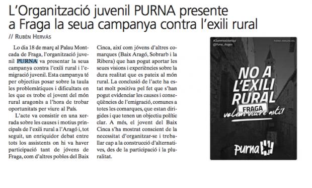 Captura de un artículo sobre PURNA