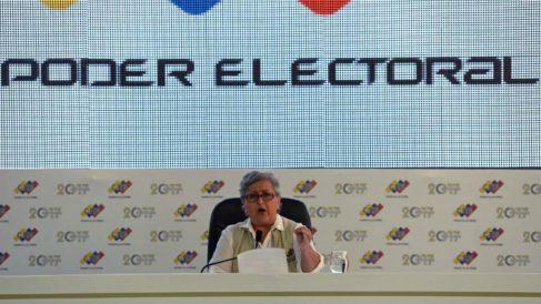 Tibisay Lucena, presidenta del Consejo Nacional Electoral (CNE) de Venezuela. Foto: AFP