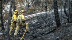 Dos brigadistas en las labores de extensión del incendio de Yeste (Foto: Efe).
