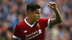 Coutinho, en un encuentro de pretemporada del Liverpool. (Getty)